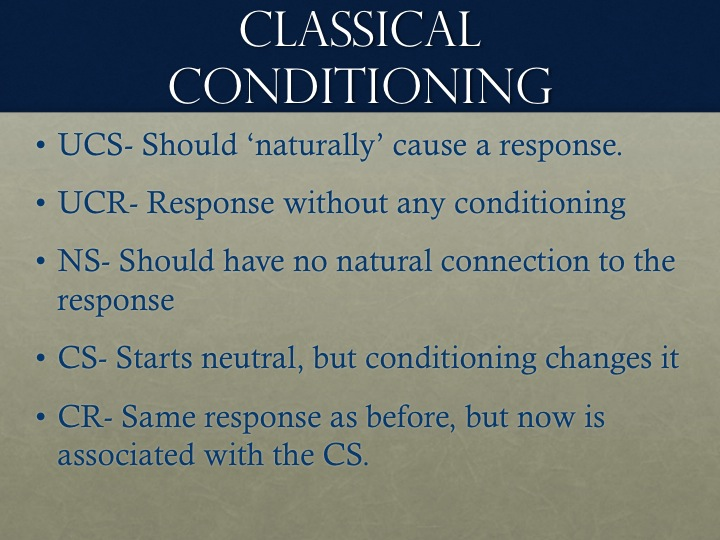 Classical Conditioning Labels